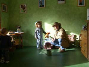 Ken and Jamie set up for Animal Education
