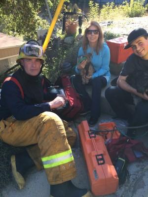 Susan Clark with Firemen